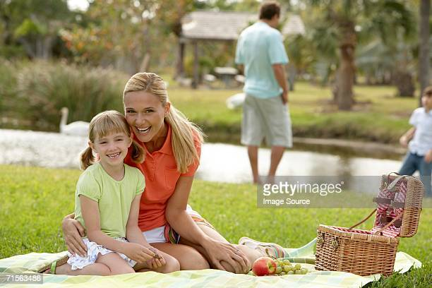 Mother and daughter at picnic