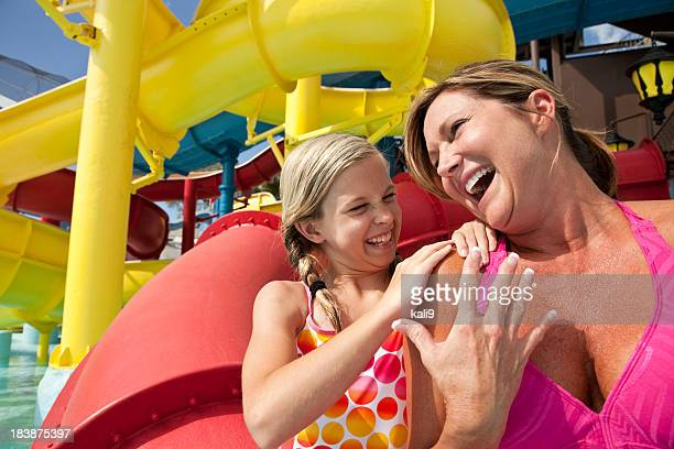 Mother and daughter at water park
