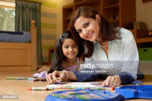 mother and daughter coloring