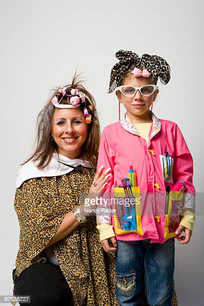 Mother and daughter dress up for Halloween.