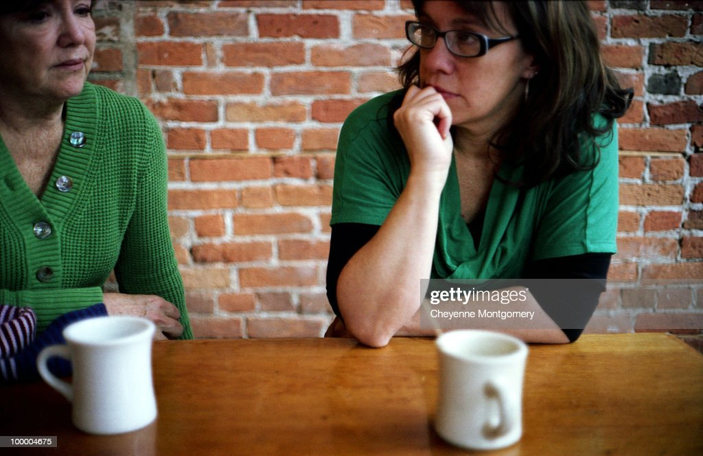 Mother and daughter drink coffee in the afternoon : Stock Photo