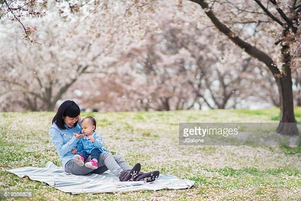 Mother and daughter enjoying the cherry blossoms