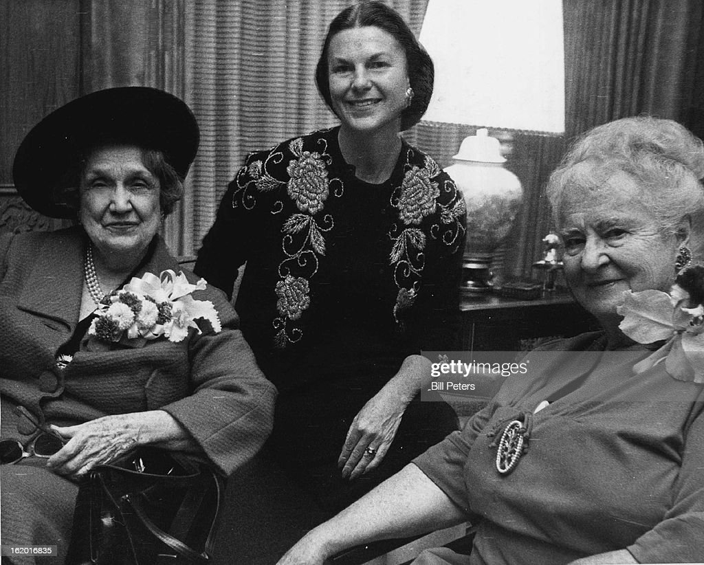 NOV 16 1963; Mother and Daughter Entertain Perle Mesta At New Home; Denver visitor Perle Mesta (left) converses with Mrs. Charles Gates (right) and Mrs. Gates' daughter, Mrs. Brown Cannon, at party Friday in Mrs. Gates' Polo Grounds home.;