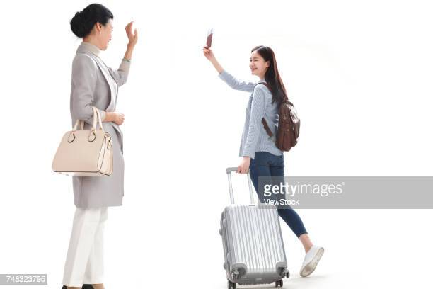 Mother and daughter goodbye