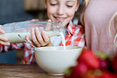 cropped shot of mother and daughter pouring milk in bowl for breakfast