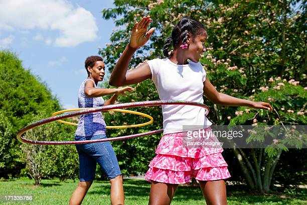 Mother and Daughter Hula Hooping