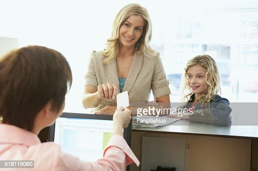 Mother and daughter in a medical office