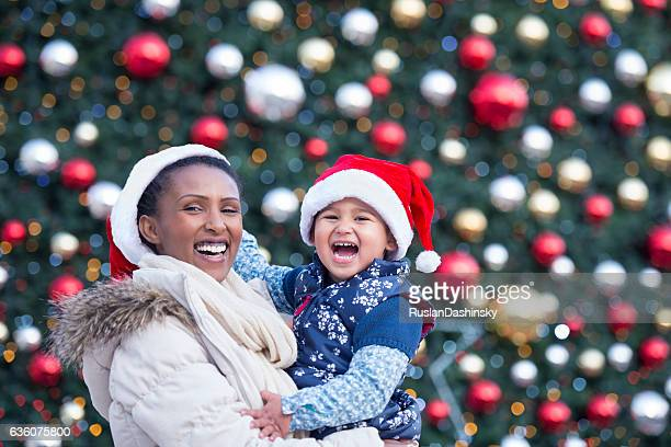Mother and daughter in Christmas time.