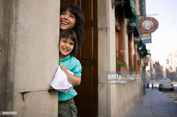 Mother and daughter in doorway
