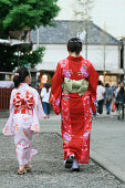 Mother and daughter in kimono
