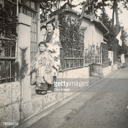 Mother and daughter in kimono : Stock Photo