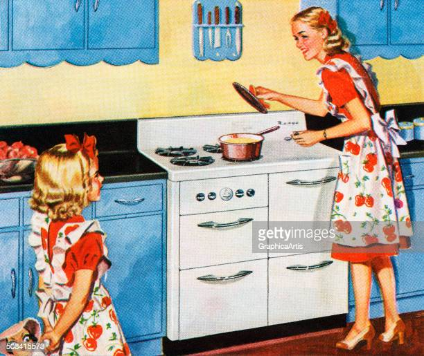 A mother and daughter in matching aprons cooking in a retro kitchen 1944 Screen print