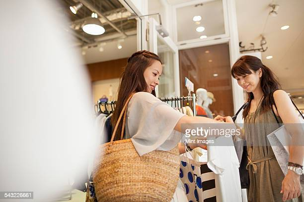 Mother and daughter on a shopping trip.