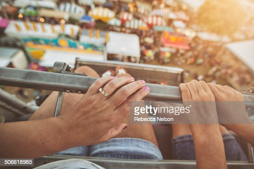 Mother and daughter on Ferris wheel