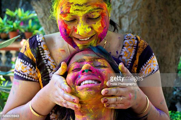 Mother and Daughter on Holi