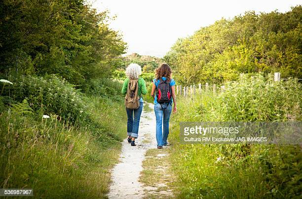 Mother and daughter on nature walk