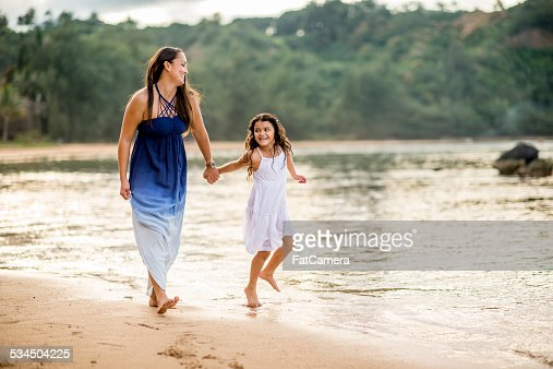 Mother and Daughter on the Beach in Hawaii