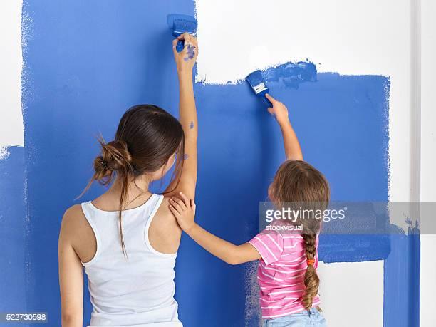 Mutter und Tochter Malerei Mauer
