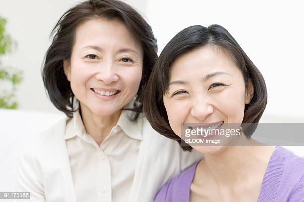 Mother and daughter, portrait, close-up