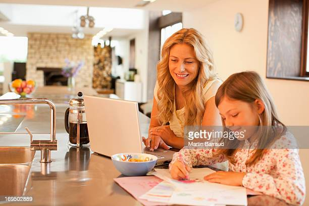 Mother and daughter relaxing in kitchen