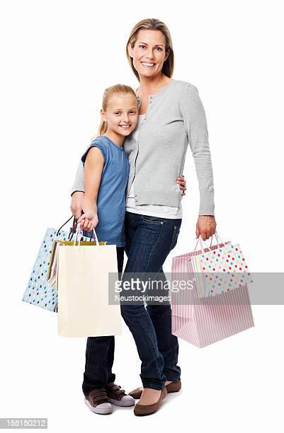 Mutter und Tochter-Shopping-isoliert