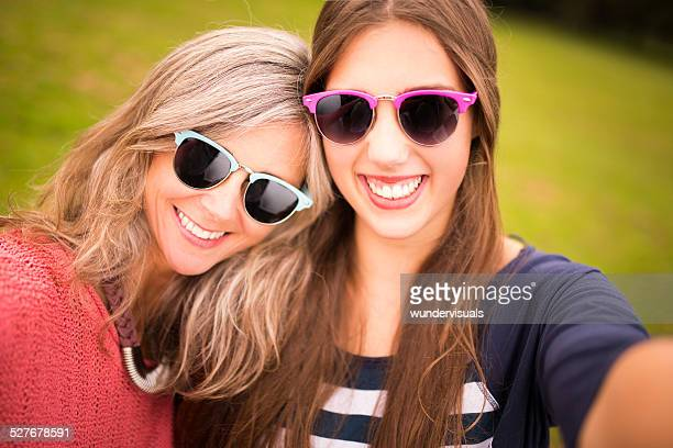 Mother and Daughter Take Selfie Together