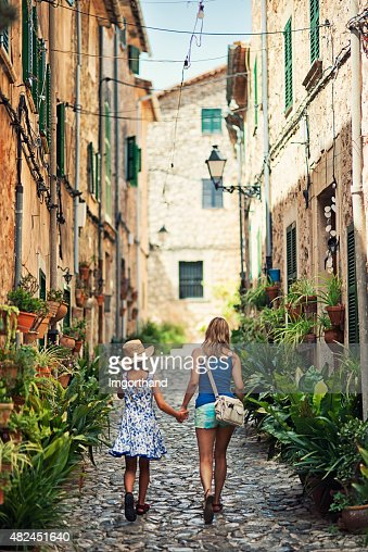 Mother and daughter visiting mediterranean town of Valldemossa