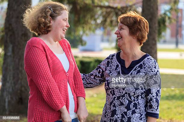Mother and daughter with Autism enjoying the outdoors