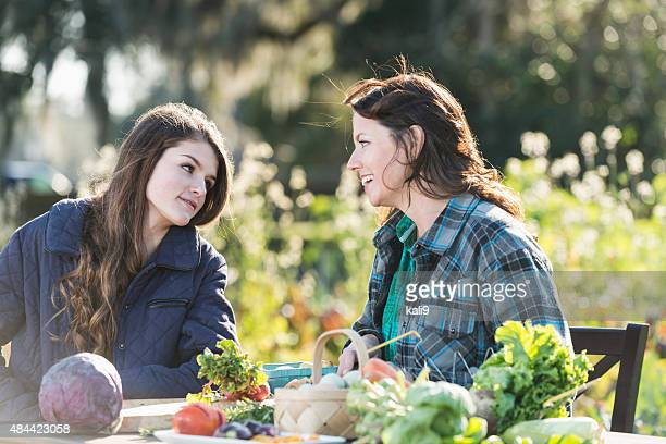 Mother and daughter working on family farm
