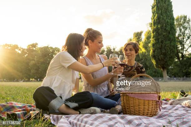 Mother and daughters drinking wine in a park during a picnic