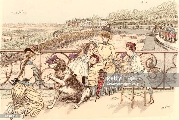Mother and her children and the family's pet St Bernard dog relaxing on the Terrasse de SaintGermain Paris France inl ilac time From Paris Brillant...