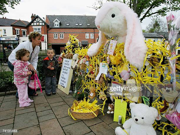 A mother and her children show their support to Madeline McCann in Rothley Village Centre on April 12 2007 in Rothley England Gerry and Kate McCann...