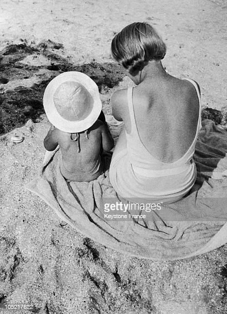 Mother And Her Daughter On A Normandy Beach In 1930