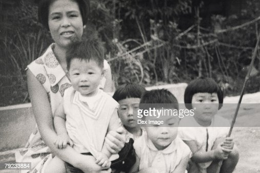 Mother and her four children : Stock Photo