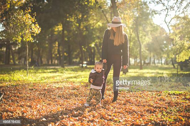 Mother and her little son enjoy outdoors