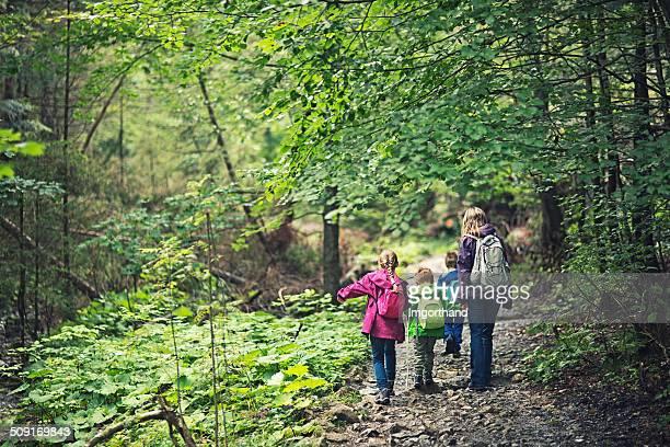 Mère et enfants faire de la randonnée dans le Forêt ancienne