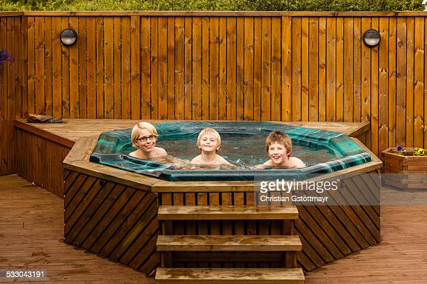 Mother and Kids in the Hot Tub