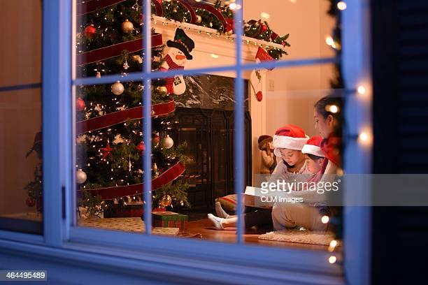 Mother and Kids on Christmas