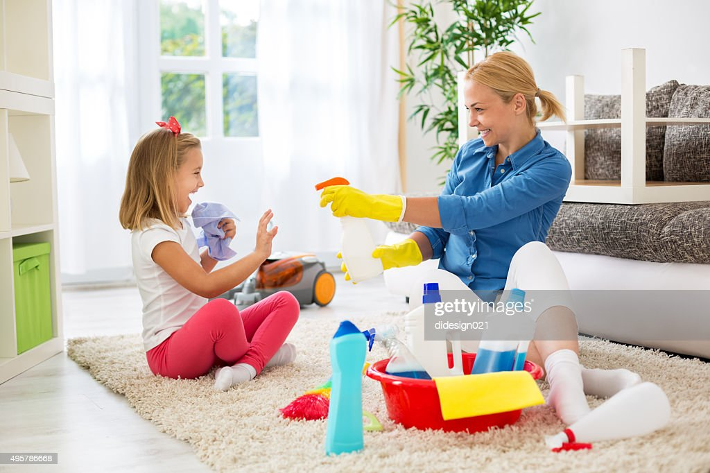 Girl Cleaning House