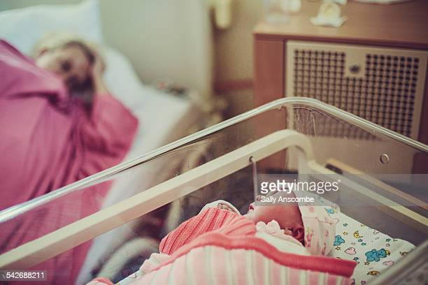 Mother and newborn baby in hospital