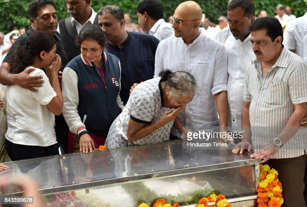 Mother and siblings of the slain journalist Gauri Lankesh paying last respect to her mortal remains at Town Hall on September 6 2017 in Bengaluru...