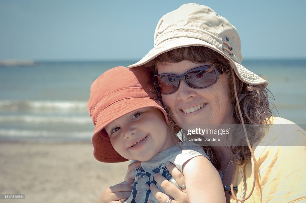 Mother and son at beach : Stock Photo
