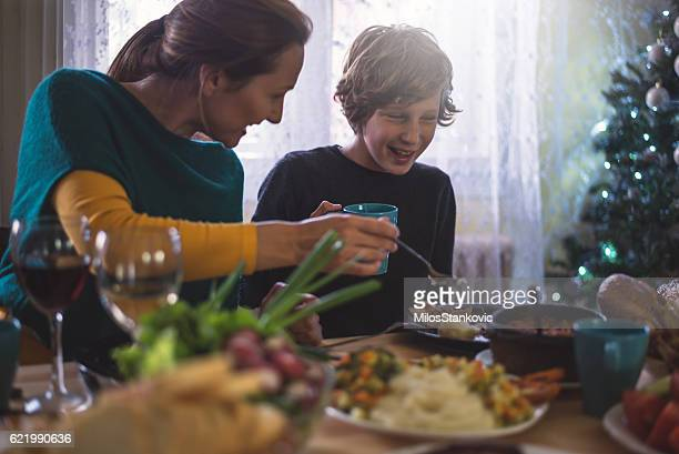 Mother and Son at Dining table