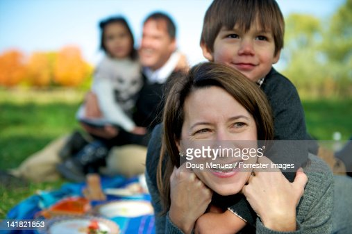 Mother and son at family picnic. : Stock Photo