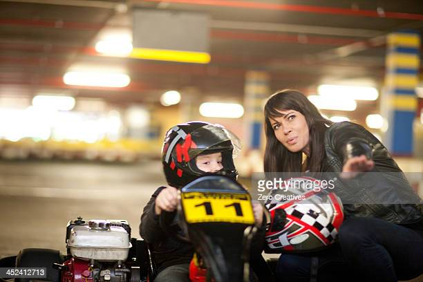 Mother and son at go cart track