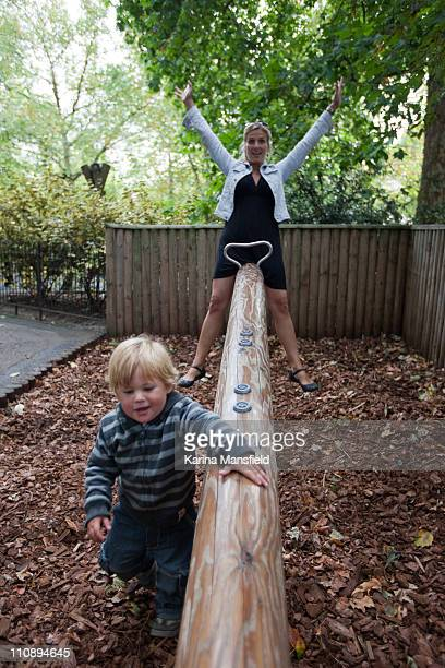 Mother and son at playground