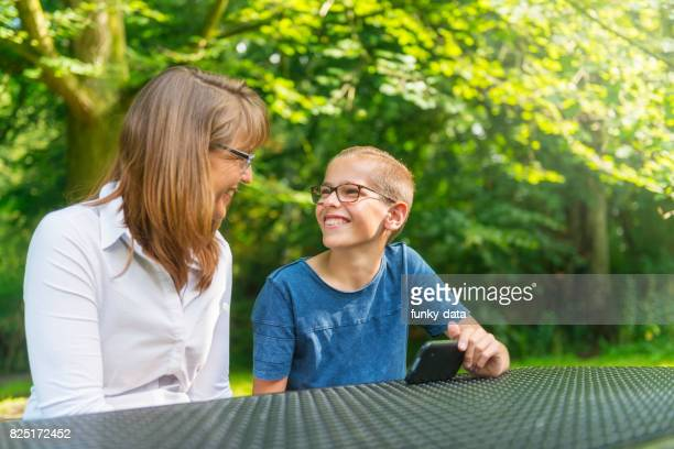Mother and son at the park