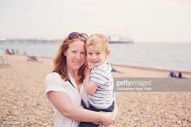 Mother and son at the seaside