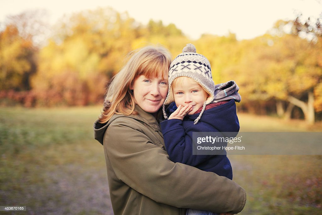 Mother and son autumn portrait : Stock Photo