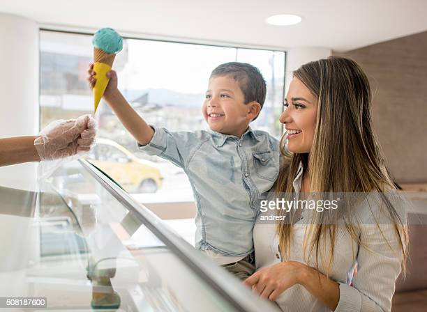 Mother and son buying an ice cream